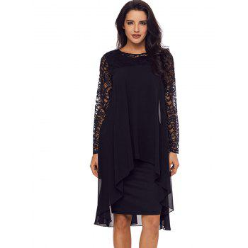 Lace Panel Tiered Bodycon Dress - BLACK M