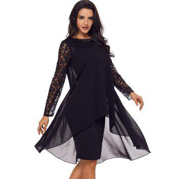 Lace Panel Tiered Bodycon Dress - BLACK S