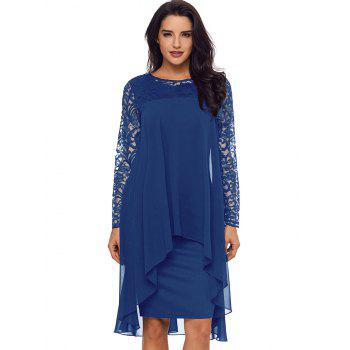Lace Panel Tiered Bodycon Dress - BLUE M
