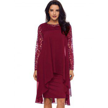 Lace Panel Tiered Bodycon Dress - BURGUNDY L