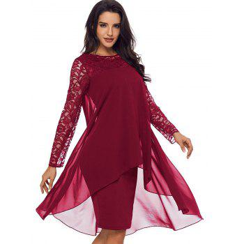 Lace Panel Tiered Bodycon Dress - BURGUNDY M