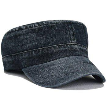 Unique Line Embroidery Washed Flat Top Hat - BLACK