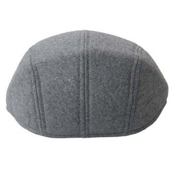 Solid Color Faux Wool Cabbie Hat - LIGHT GREY