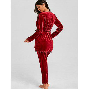 Velvet Pants and Chemise with Robe 3 Piece Pajamas - WINE RED XL