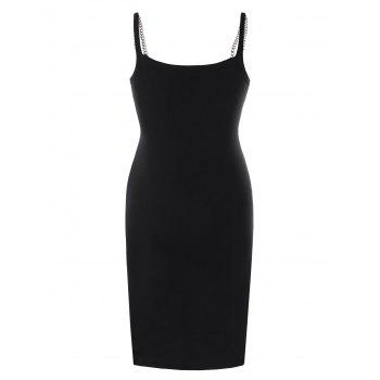 Chains Embellished Butterfly Skull Cami Dress - BLACK XL