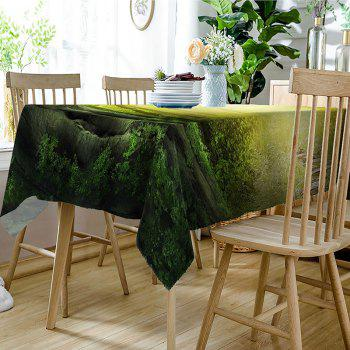 Waterproof Sunshine Forest Pathway Print Table Cloth - GREEN W54 INCH * L72 INCH