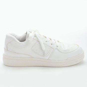 Stitching Flower Embroidery Sneakers - WHITE 39