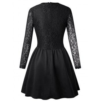 Long Sleeve Lace Flare Skater Dress - BLACK M