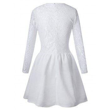 Long Sleeve Lace Flare Skater Dress - WHITE S