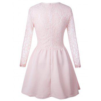 Long Sleeve Lace Flare Skater Dress - PINK S