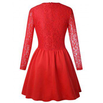 Long Sleeve Lace Flare Skater Dress - RED M