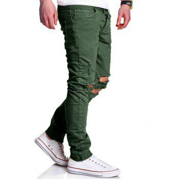 Five-pocket Knee Broken Skinny Jeans - GREEN 34