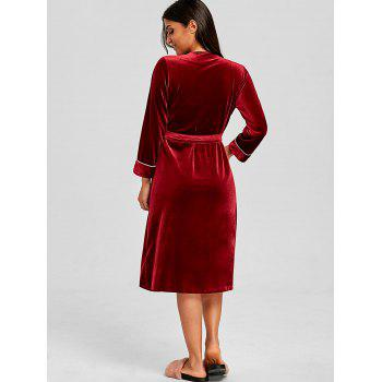 Long Velvet Lounge Robe with Side Pockets - WINE RED M