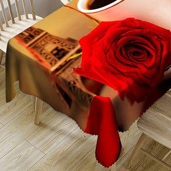 Coffee Rose Eiffel Tower Pattern Waterproof Table Cloth - COLORMIX W54 INCH * L72 INCH