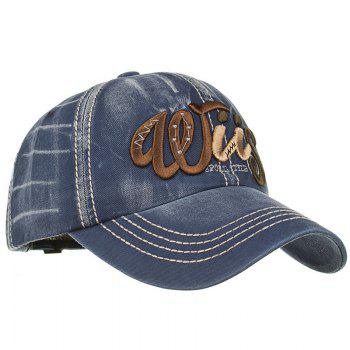 Letter Embroidery Adjustable Sunscreen Hat - CADETBLUE