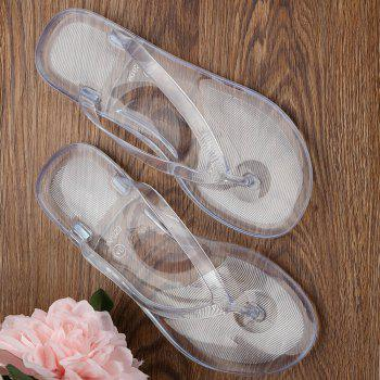 Summer Beach Flat Clear Flip Flops - WHITE 36
