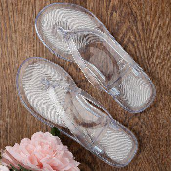 Summer Beach Flat Clear Flip Flops - WHITE 40