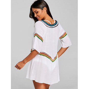 Bohemian Crochet Cover Up Haut de la page - Blanc ONE SIZE