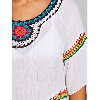 Bohemian Crochet Insert Cover Up Top - WHITE ONE SIZE