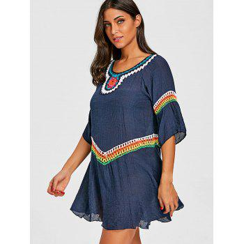 Bohemian Crochet Insert Cover Up Top - BLUE ONE SIZE