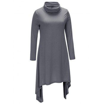 Turtle Neck Long Sleeve Asymmetric Dress - DARK GRAY M