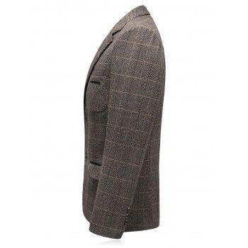 Chest Pocket Tweed Casual Blazer - CAPPUCCINO 3XL