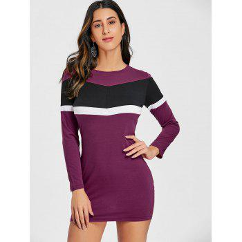 Long Sleeve Contrats Chevron Mini Dress - PURPLISH RED M