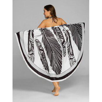Feather Printed Round Beach Throw - BLACK ONE SIZE