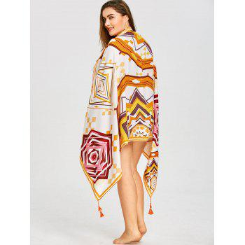 Rectangle Tassel Geometric Beach Throw - WHITE ONE SIZE