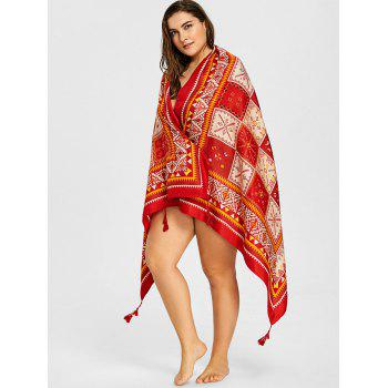 Tassel Geometric Ethnic Beach Throw - WINE RED ONE SIZE