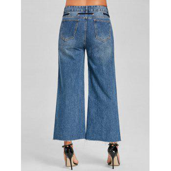 Grommet Tie Up Wide Leg Jeans - DENIM BLUE M