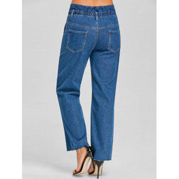 Wide Leg Raw Hem Jeans - DENIM BLUE XL