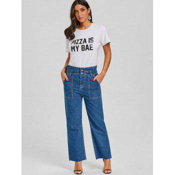 Wide Leg Raw Hem Jeans - DENIM BLUE 2XL