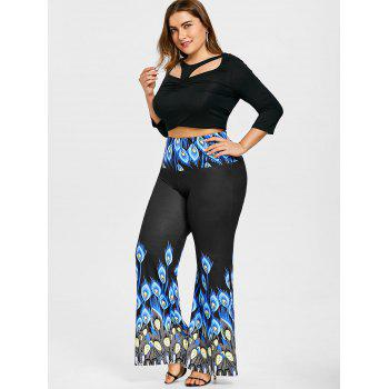 Long Plus Size Peacock Print Palazzo Pants - BLUE 5XL