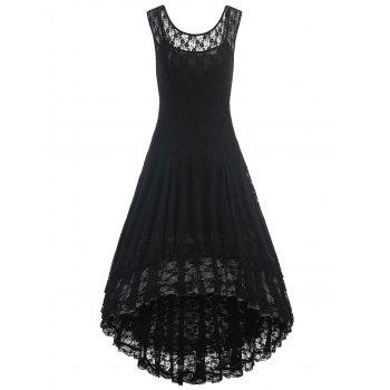 Layered Lace High Low Dress - BLACK 2XL