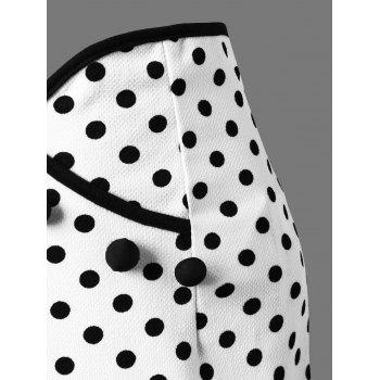 Polka Dot Flounced Fishtail Skirt - WHITE M