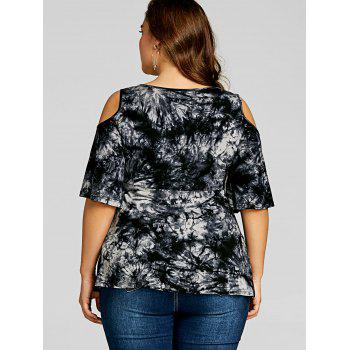 Plus Size Crochet Trimmed Cold Shoulder Top - BLACK 3XL