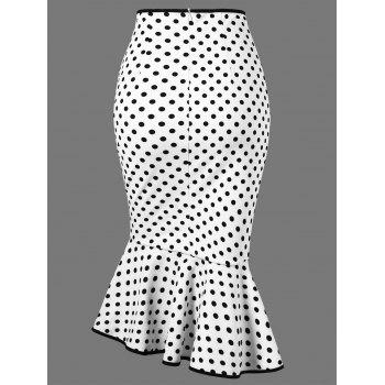 Polka Dot Flounced Fishtail Skirt - WHITE 2XL