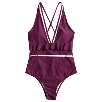 One Piece Low Cut Ruffles Swimwear - PURPLISH RED L