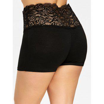Plus Size Lace Panel Scalloped Safety Shorts - BLACK 2XL