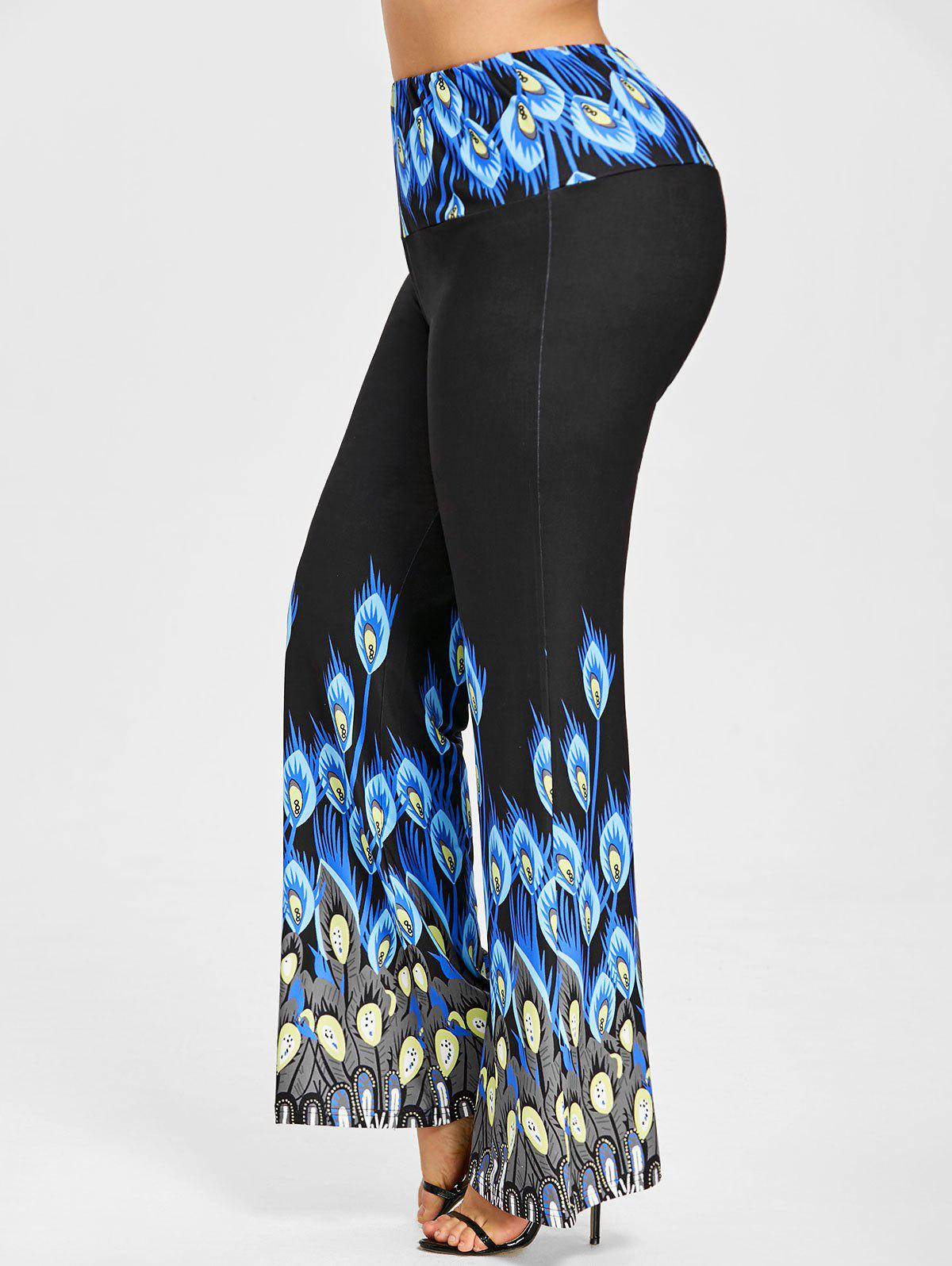 Long Plus Size Peacock Print Palazzo Pants - BLUE 2XL