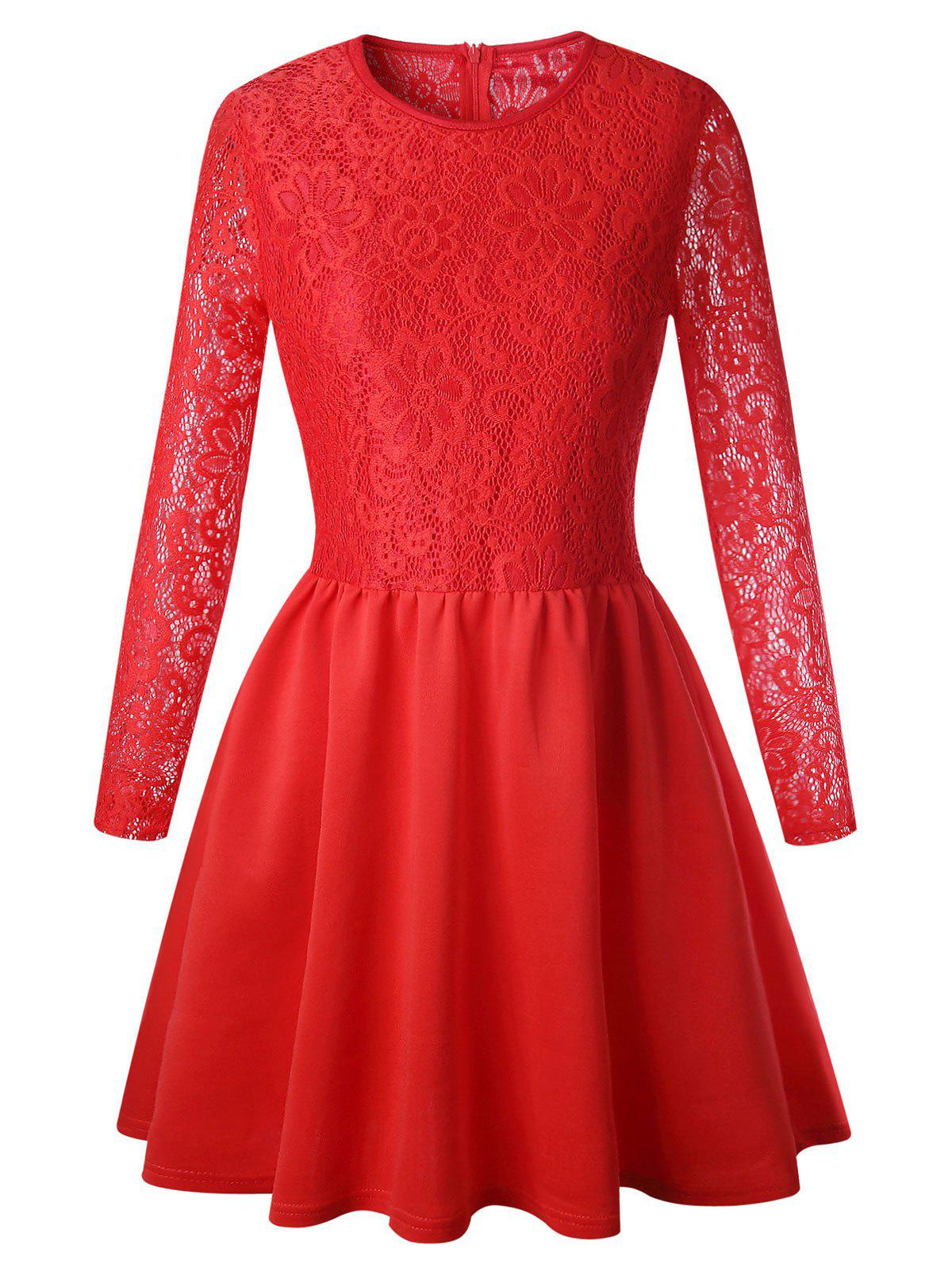 Long Sleeve Lace Flare Skater Dress - RED L