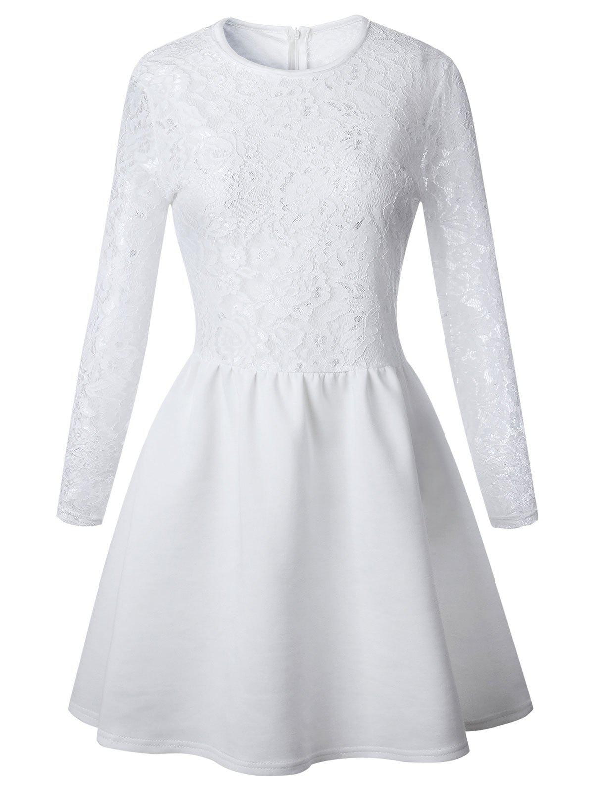 Long Sleeve Lace Flare Skater Dress - WHITE M