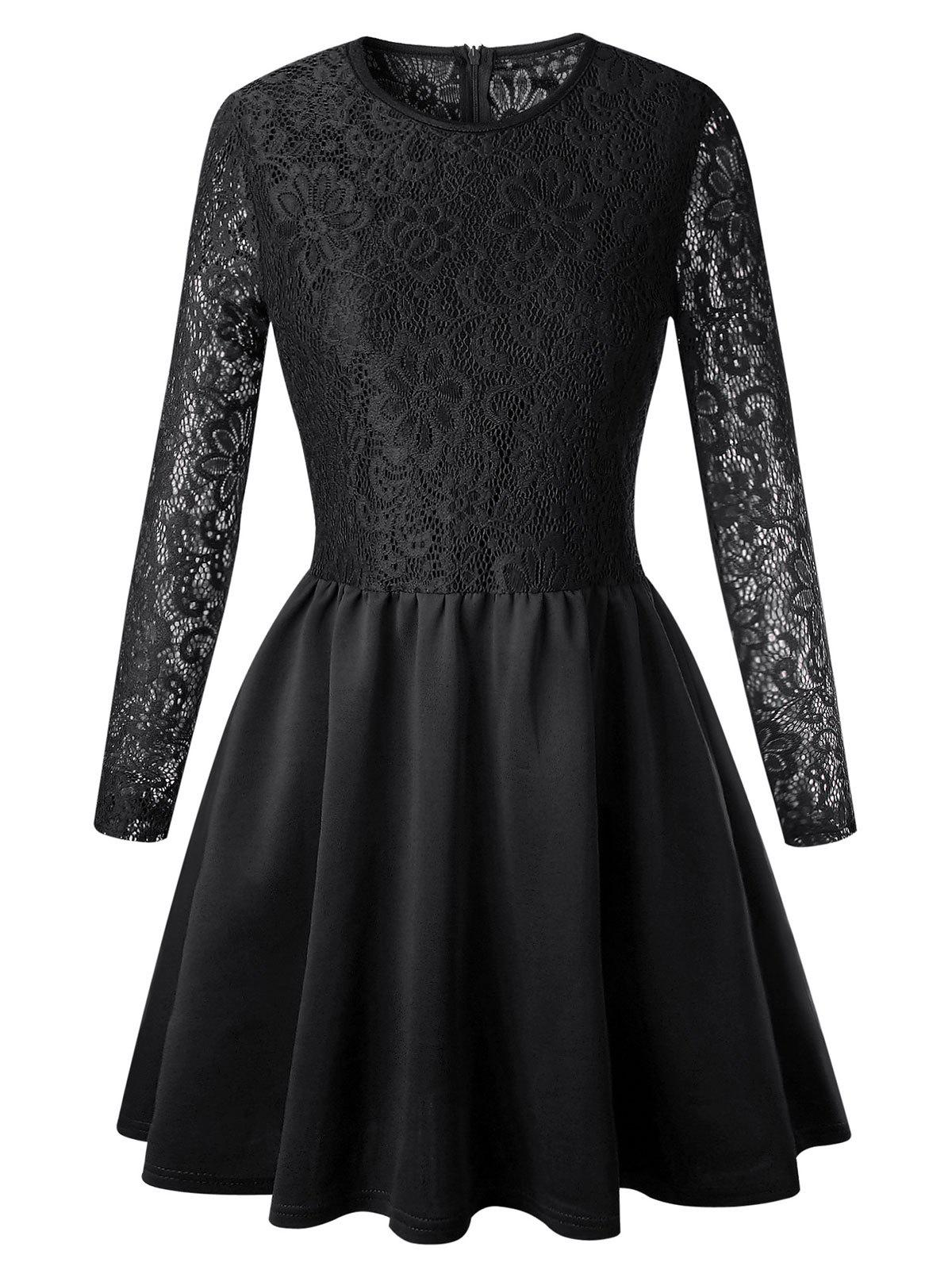 Long Sleeve Lace Flare Skater Dress - BLACK XL