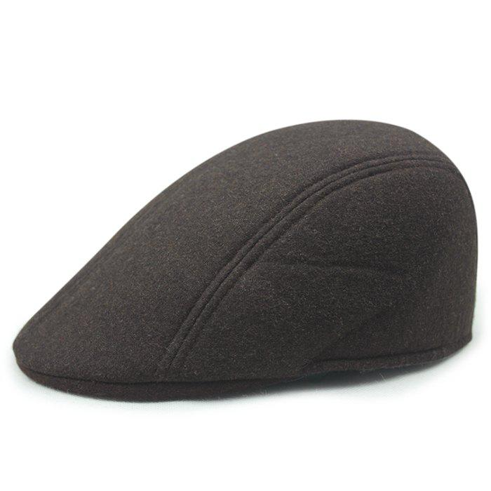 Solid Color Faux Wool Cabbie Hat - CAPPUCCINO