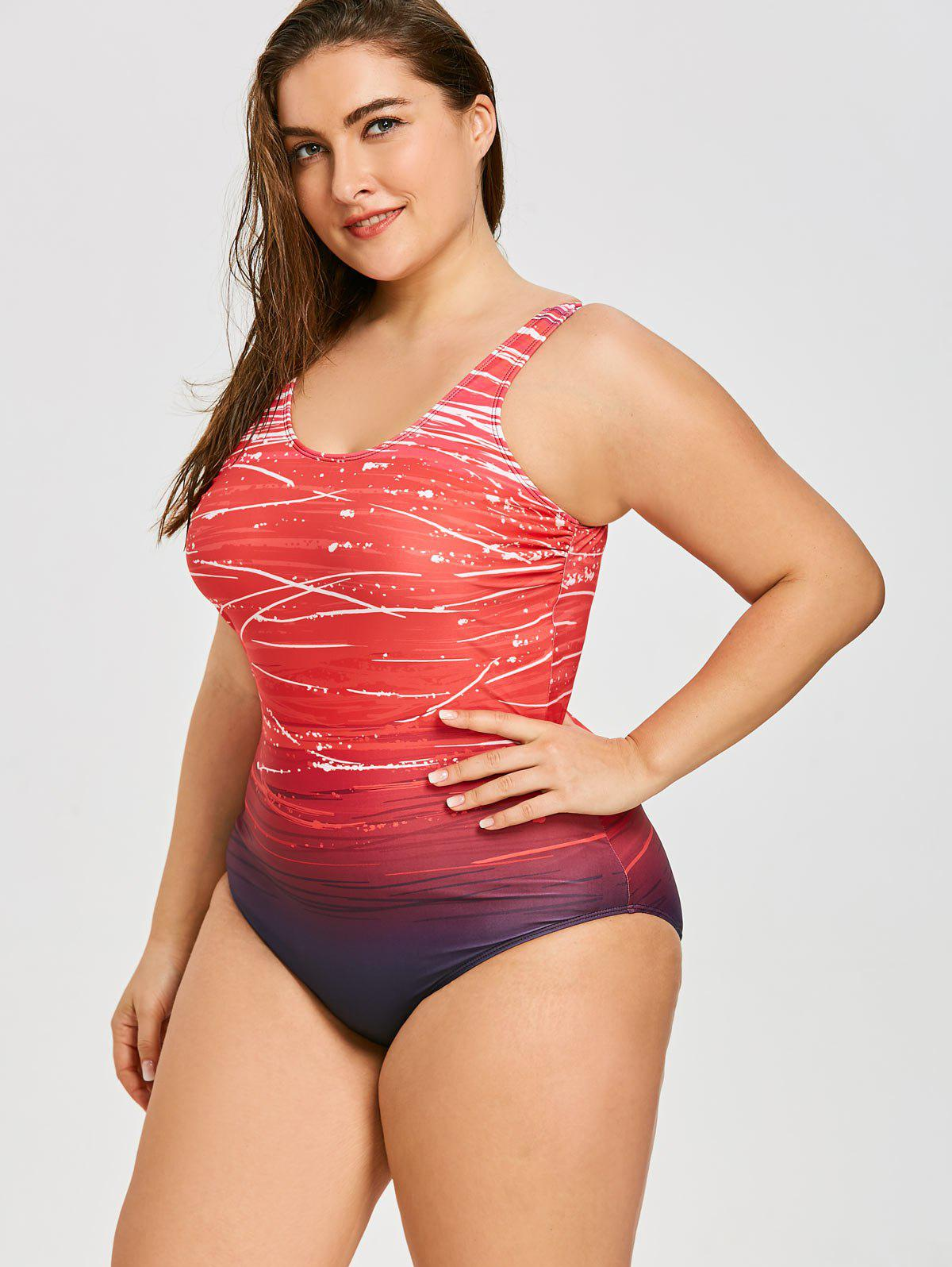 2018 Ombre Plus Size Modest One Piece Swimsuit RED XL In ...