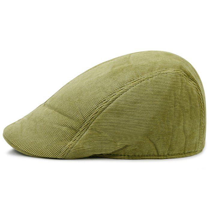 Retro Striped Pattern Corduroy Duckbill Hat - OLIVE GREEN