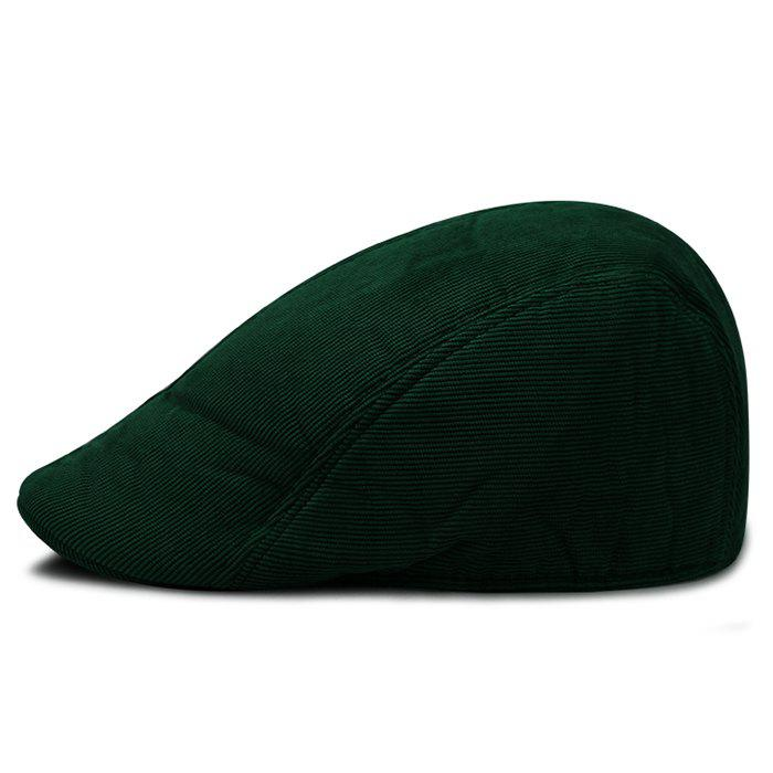 Retro Striped Pattern Corduroy Duckbill Hat - BLACKISH GREEN