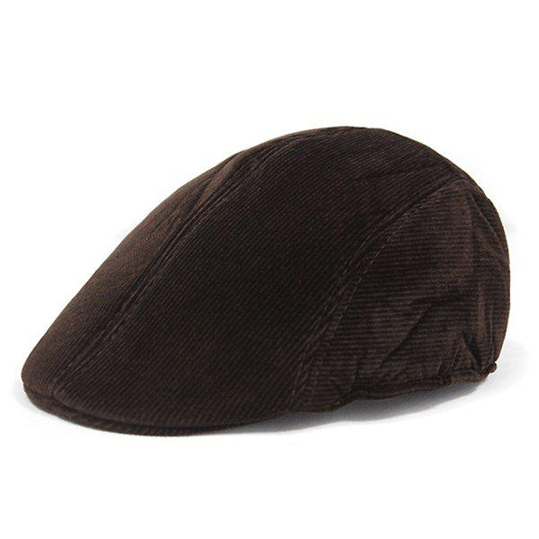 Retro Striped Pattern Corduroy Duckbill Hat - MOCHA
