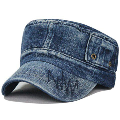 Unique Line Embroidery Washed Flat Top Hat - DEEP BLUE